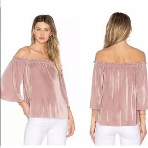 JOA Los Angeles Off Shoulder Pleated Blouse